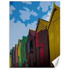Brightly Colored Dressing Huts Canvas 36  x 48