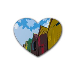Brightly Colored Dressing Huts Rubber Coaster (heart)
