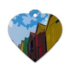 Brightly Colored Dressing Huts Dog Tag Heart (two Sides)