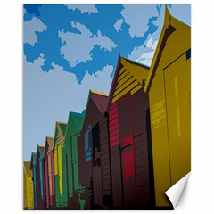 Brightly Colored Dressing Huts Canvas 11  x 14