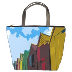 Brightly Colored Dressing Huts Bucket Bags