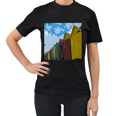 Brightly Colored Dressing Huts Women s T Shirt (black)