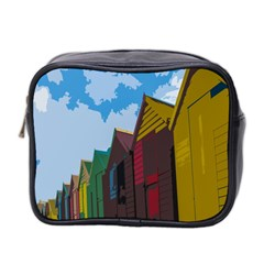 Brightly Colored Dressing Huts Mini Toiletries Bag 2-Side
