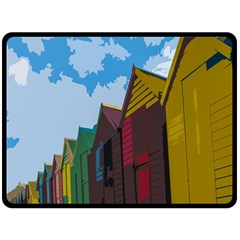 Brightly Colored Dressing Huts Fleece Blanket (Large)