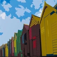 Brightly Colored Dressing Huts Magic Photo Cubes