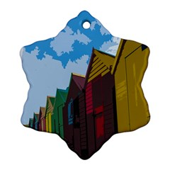 Brightly Colored Dressing Huts Snowflake Ornament (Two Sides)