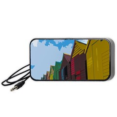 Brightly Colored Dressing Huts Portable Speaker (Black)