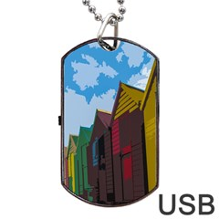 Brightly Colored Dressing Huts Dog Tag USB Flash (One Side)