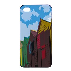Brightly Colored Dressing Huts Apple iPhone 4/4s Seamless Case (Black)