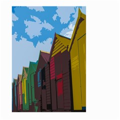 Brightly Colored Dressing Huts Large Garden Flag (Two Sides)