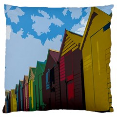 Brightly Colored Dressing Huts Large Cushion Case (Two Sides)