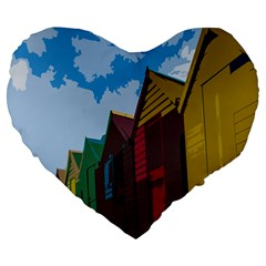 Brightly Colored Dressing Huts Large 19  Premium Heart Shape Cushions