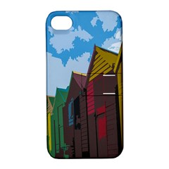 Brightly Colored Dressing Huts Apple Iphone 4/4s Hardshell Case With Stand