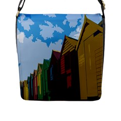 Brightly Colored Dressing Huts Flap Messenger Bag (l)