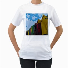 Brightly Colored Dressing Huts Women s T-Shirt (White)