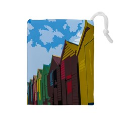 Brightly Colored Dressing Huts Drawstring Pouches (Large)