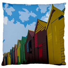 Brightly Colored Dressing Huts Large Flano Cushion Case (One Side)