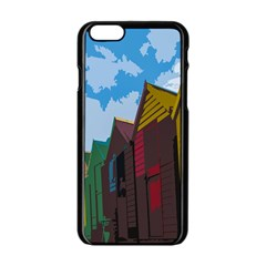Brightly Colored Dressing Huts Apple iPhone 6/6S Black Enamel Case