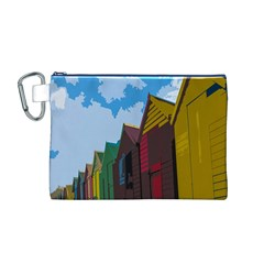 Brightly Colored Dressing Huts Canvas Cosmetic Bag (m)