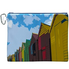 Brightly Colored Dressing Huts Canvas Cosmetic Bag (XXXL)