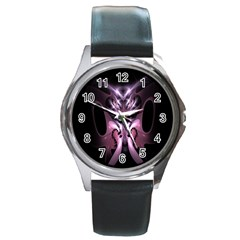 Angry Mantis Fractal In Shades Of Purple Round Metal Watch