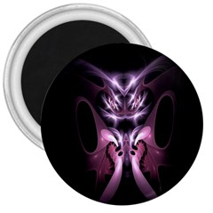 Angry Mantis Fractal In Shades Of Purple 3  Magnets