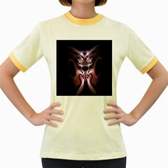 Angry Mantis Fractal In Shades Of Purple Women s Fitted Ringer T Shirts