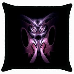 Angry Mantis Fractal In Shades Of Purple Throw Pillow Case (Black)