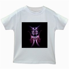 Angry Mantis Fractal In Shades Of Purple Kids White T Shirts