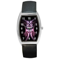 Angry Mantis Fractal In Shades Of Purple Barrel Style Metal Watch