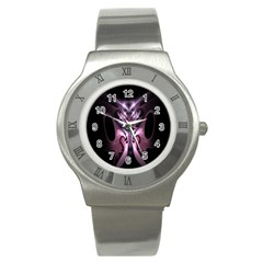 Angry Mantis Fractal In Shades Of Purple Stainless Steel Watch
