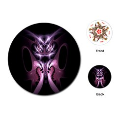 Angry Mantis Fractal In Shades Of Purple Playing Cards (Round)