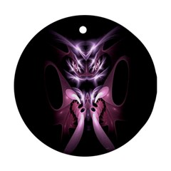 Angry Mantis Fractal In Shades Of Purple Round Ornament (Two Sides)