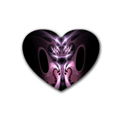 Angry Mantis Fractal In Shades Of Purple Rubber Coaster (Heart)