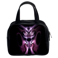 Angry Mantis Fractal In Shades Of Purple Classic Handbags (2 Sides)