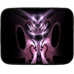 Angry Mantis Fractal In Shades Of Purple Fleece Blanket (Mini)