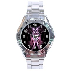 Angry Mantis Fractal In Shades Of Purple Stainless Steel Analogue Watch