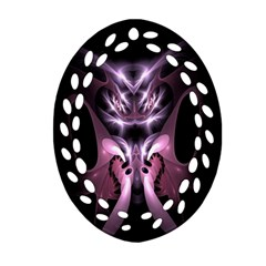 Angry Mantis Fractal In Shades Of Purple Ornament (Oval Filigree)