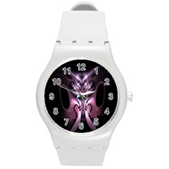 Angry Mantis Fractal In Shades Of Purple Round Plastic Sport Watch (m)