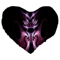 Angry Mantis Fractal In Shades Of Purple Large 19  Premium Heart Shape Cushions