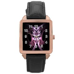 Angry Mantis Fractal In Shades Of Purple Rose Gold Leather Watch