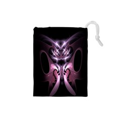 Angry Mantis Fractal In Shades Of Purple Drawstring Pouches (small)