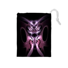 Angry Mantis Fractal In Shades Of Purple Drawstring Pouches (medium)