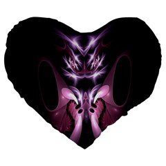 Angry Mantis Fractal In Shades Of Purple Large 19  Premium Flano Heart Shape Cushions