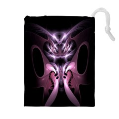 Angry Mantis Fractal In Shades Of Purple Drawstring Pouches (Extra Large)