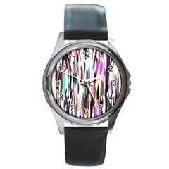 Randomized Colors Background Wallpaper Round Metal Watch