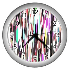 Randomized Colors Background Wallpaper Wall Clocks (Silver)