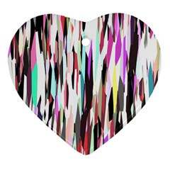 Randomized Colors Background Wallpaper Heart Ornament (Two Sides)
