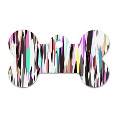 Randomized Colors Background Wallpaper Dog Tag Bone (One Side)