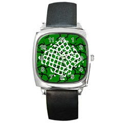 Abstract Clutter Square Metal Watch